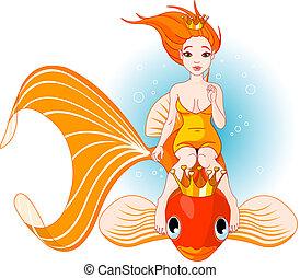 dorado, pez, sirena, equitación