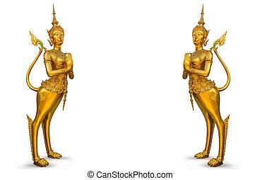 dorado, phra, kaew, estatua, wat