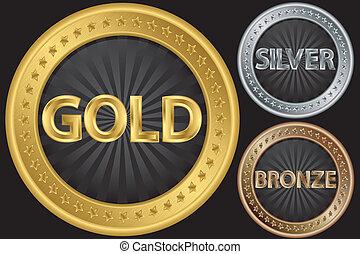 dorado, plata, bronce