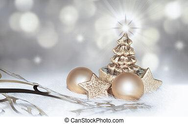 dorado, plata, plano de fondo, navidad