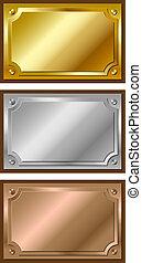 dorado, plata, y, bronce, placas