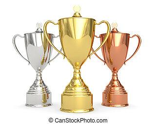 dorado, plata, y, bronce, trofeo, tazas, blanco