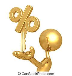 dorado, porcentaje, llave