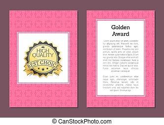 dorado, premio, alto, calidad, aprobar, mejor, opción, oro