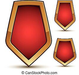 dorado, protector, emblemas, tres, forma, vector, refinado, frontera, rojo