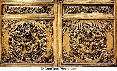 dorado, puertas, dragón