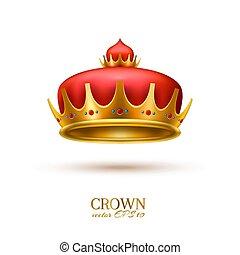 dorado, realista, corona, 3d, vector