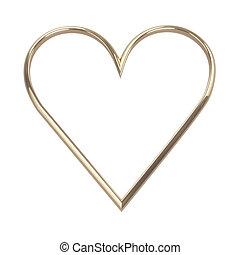 dorado, recorte, corazón, aislado, trayectoria, blanco