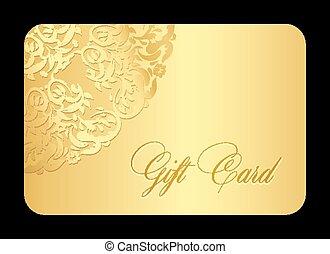 dorado, redondeado, encaje, regalo, lujo, tarjeta