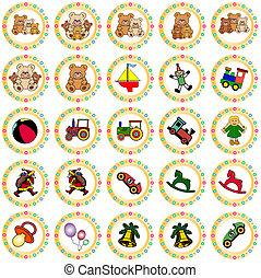 dorado, redondo, círculos, con, juguetes