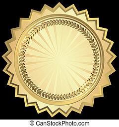 dorado, redondo, marco, (vector)