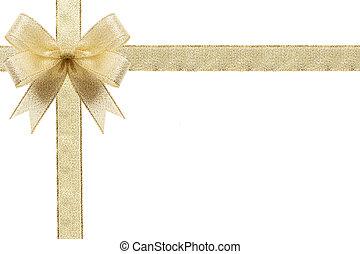 dorado, regalo, bow., ribbon., aislado, blanco