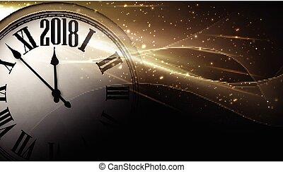 dorado, reloj, fondo., 2018, año, nuevo