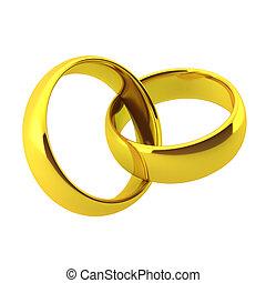 dorado, render, anillos, dos, boda, 3d