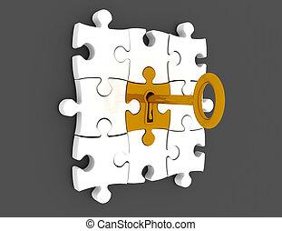dorado, render, rompecabezas, -, ilustración, pedazos, llave, 3d