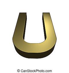 dorado, rendido,  -,  U, carta, fuente,  3D