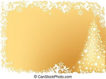 dorado, resumen, árbol, navidad