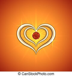 dorado, resumen, brillante, vector, plano de fondo, corazones, piedra preciosa, rojo