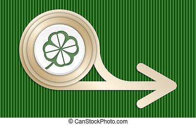 dorado, resumen, flecha, y, verde, hoja de trébol