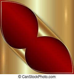 dorado, resumen, metálico, vector, plano de fondo, rojo