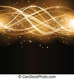 dorado, resumen, onda, estrellas, patrón