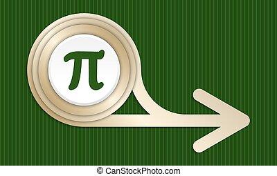 dorado, resumen, pi, símbolo, flecha