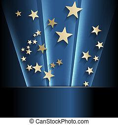 dorado, resumen, plano de fondo, estrellas