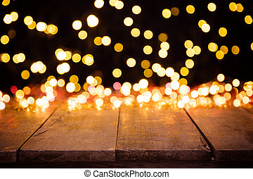 dorado, resumen, punto, confuso, luces, madera