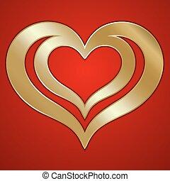 dorado, resumen, vector, plano de fondo, par, corazones, rojo