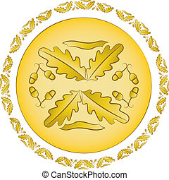 dorado, roble, ornamento