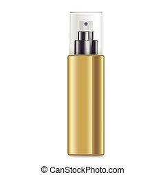 dorado, rociar, cosmético, botella