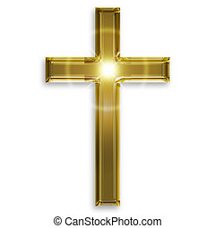 dorado, símbolo, aislado, crucifijo, plano de fondo, blanco