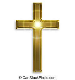 dorado, símbolo, de, crucifijo, aislado, blanco, plano de...