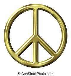 dorado, símbolo, paz, 3d