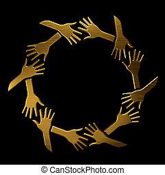 dorado, símbolo, vip, manos, élite, circle.