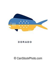 Dorado, sea fish geometric flat style design vector Illustration