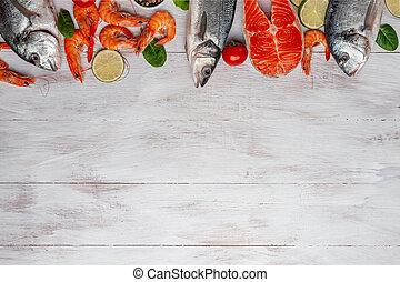 dorado, seabass, 鮭, エビ, 魚, bord