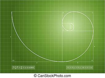 dorado, secuencia, -, fibonacci, espiral