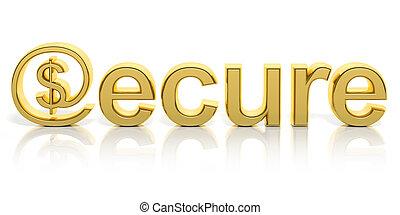 dorado, seguro, símbolomonetario, aislado, texto, en línea, ...
