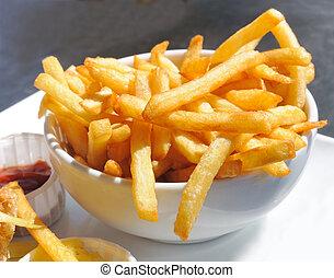 dorado, ser, papas, fríe, francés, comido, listo
