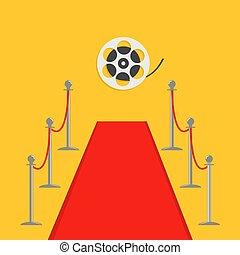 dorado, soga, aislado, alfombra, película, plano, plantilla, cine, amarillo, reel., barrera, estreno, torniquete, postes, rojo, diseño, fondo.