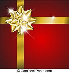 dorado, -, tarjeta, navidad, cinta, rojo