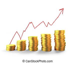 dorado, tendencia, coins, arriba, ilustración, gráfico, flecha, pilas, 3d