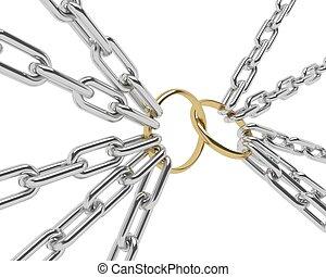 dorado, timbre de confrontación, en, un, cromo, cadena, aislado, blanco