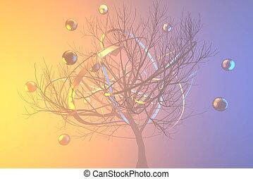 dorado, todos, riqueza, rodear, árbol, prosperidad, ...