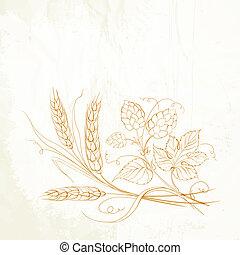 dorado, trigo, y, salto, en, sepia