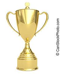 dorado, trofeo, taza, blanco
