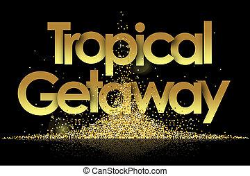 dorado, tropical, estrellas, plano de fondo, fuga