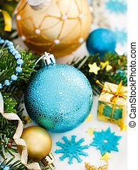 dorado, turquesa, ornamentos, navidad