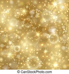dorado, twinkly, estrellas, plano de fondo, luces